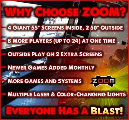 Zoom mobile gaming video game truck parties, laser tag and karaoke in Kansas City
